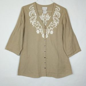 Soft Surroundings Floral Embroidery Tunic Top